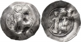 Manuel I Comnenus, 1143-1180. Aspron Trachy (Electrum, 29 mm, 4.12 g, 5 h), Constantinopolis. IC - XC Christ Pantokrator standing facing on dais; in f...