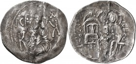 Michael VIII Palaeologus, 1261-1282. Trachy (Silver, 26 mm, 1.98 g, 6 h), Constantinopolis. Bust of Christ facing; in fields IC - XC and K - K. Rev. M...