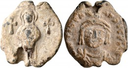 Maurice Tiberius, 582-602. Seal (Lead, 20 mm, 6.53 g, 12 h). The Virgin standing facing, holding Christ before her; to left and right, small, thick cr...