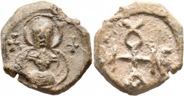 Menelaos, 6th-7th century. Seal (Lead, 21 mm, 9.25 g, 12 h). Nimbate Theotokos holding Christ, wearing cross nimbus; on either side, cross. Rev. MENEΛ...