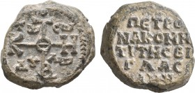 Petronas, komes of the vigla, 8th century. Seal (Lead, 25 mm, 23.27 g, 12 h). Large cruciform monogram of ΘEOTOKE BOHΘH; in corners, Tω / Cω / Δ૪/Λω (...