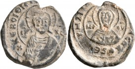 N., protospatharios and epi tou manglabiou, 2ndh half 9th-1st half 10th century. Seal (Lead, 22 mm, 5.66 g, 12 h). KЄ ROIΘH T... ('Lord, help your ser...