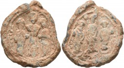 Romanus IV Diogenes, with Eudocia, Michael VII, Constantius, and Andronicus, 1068-1071. Seal (Lead, 32 mm, 30.62 g, 12 h). +PωMAN S - [ЄVΔOKIA] In cen...