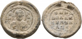 Nikolaos, monk and kouboukleisios, 11th century. Seal (Lead, 19 mm, 6.11 g, 12 h). Θ / N/I-K/O/Λ, Nimbate bust of Saint Nicholas, raising his right ha...