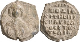Michael, hypatos, krites of the Hippodrome and of Anatolikon, 11th century. Seal (Lead, 31 mm, 17.11 g, 12 h). [ MHP ] - ΘV Nimbate Theotokos, both ha...
