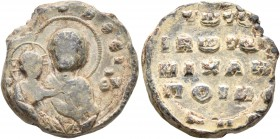 Michael, bishop ('poimenarches') of Ibora, 11th century. Seal (Lead, 19 mm, 8.88 g, 12 h). [...]OHΘEI; to right, ΘV ('Mother of God, help') Nimbate Th...