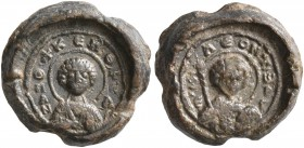 Leon, 11th century. Seal (Lead, 12 mm, 3.49 g, 11 h). To left and right, Θ / Π/AN-T/Є/Λ; above, +KЄ R'Θ, ('Saint Pantaleon - Lord, help') Nimbate bust...