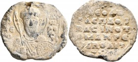 Theodoros Makrembolites, protospatharios and imperial notarios, 11th century. Seal (Lead, 27 mm, 11.59 g, 12 h). Θ / [Θ]Є/ω-Δ/ω/PO/C ('Saint Theodore'...