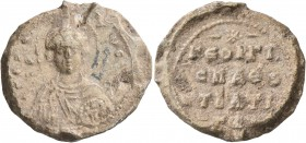 Georgios, protospatharios and strategos, 11th century. Seal (Lead, 26 mm, 13.76 g, 12 h). KЄ RΘ - Tω C[ω Δ,]; in fields, Θ/Γ[...]-O Nimbate facing bus...