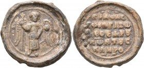 Konstantinos Skleros, proedros, 2nd half of 11th century. Seal (Lead, 27 mm, 17.16 g, 12 h). M/I-X St. Michael standing facing, wearing loros and hold...