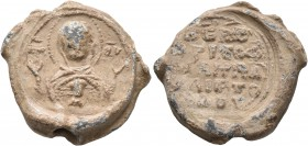 "Christophoros, imperial klerikos, monk and ...(?), 2nd half of 11th century. Seal (Lead, 21 mm, 9.58 g, 12 h). MHP -ΘV Nimbate Theotokos ""Nikopoios"", ..."