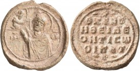 "Leon, 12th century. Seal (Lead, 28 mm, 15.82 g, 12 h). MHP - ΘV Half-length figure of the Theotokos ""Hagiosoritissa"" to left, nimbate, both hands rais..."
