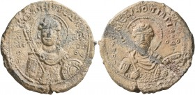 Melias, ostiarios, 12th century. Seal (Lead, 29 mm, 12.37 g, 1 h). KЄ ROHΘ T C ΔΛ ('Lord, help your servant); to left, O / AΓI/O/C; to right, [ΓЄω]/PΓ...