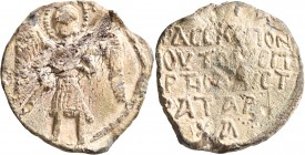 Spartenos (?), 13th century. Seal (Lead, 35 mm, 29.09 g, 12 h). Michael, nimbate, standing facing, wearing military dress, holding spear in his right ...
