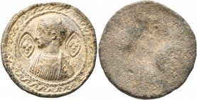 Uncertain, circa 15th century (?). Seal (Lead, 27 mm, 12.45 g). Half-length, draped male bust to left; in fields to left and right, pearled crosses wi...