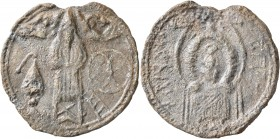 "Uncertain, circa 7th-8th century (?). Token (Lead, 30 mm, 8.02 g, 12 h), ""Eulogia"" (blessing) token, Saint Symeon Stylites the Younger (?). Saint Syme..."