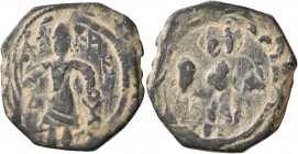 CRUSADERS. Edessa. Baldwin II, second reign, 1108-1118. Follis (Bronze, 22 mm, 4.42 g, 12 h). Count Baldwin II, dressed in chain-armour and conical he...