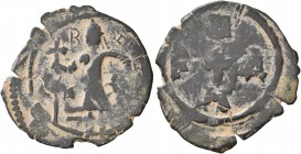 CRUSADERS. Edessa. Baldwin II, second reign, 1108-1118. Follis (Bronze, 23 mm, 2.87 g, 10 h). B[...] Count Baldwin II, dressed in chain-armour and con...