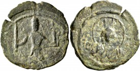 CRUSADERS. Edessa. Baldwin II, second reign, 1108-1118. Follis (Bronze, 21 mm, 4.90 g, 1 h). Count Baldwin II, dressed in chain-armour and conical hel...