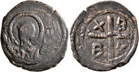 CRUSADERS. Edessa. Baldwin II, second reign, 1108-1118. Follis (Bronze, 26 mm, 7.03 g, 1 h). Bust of Virgin Mary orans. Rev. X/B/B/K ('XPICTЄ BOHΘI BA...