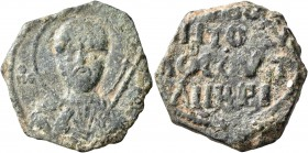 CRUSADERS. Antioch. Tancred, regent, 1101-1112. Follis (Bronze, 22 mm, 4.40 g, 6 h). Ο / ΠΕ-Τ/P/O/C Nimbate bust of St. Peter facing, raising his righ...