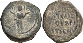 CRUSADERS. Antioch. Roger of Salerno, regent, 1112-1119. Follis (Bronze, 20 mm, 4.01 g, 7 h). Virgin Mary standing orans, nimbate, wearing jewelled ma...