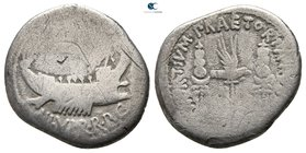 Mark Antony, as Triumvir 43-30 BC. Military mint moving with M.Antony. Denarius AR