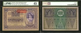 AUSTRIA. Austrian-Hungarian Bank. 1000 & 10,000 Kronen, 1902-18. P-8a, 59, 60 & 65. PMG Extremely Fine 40 to Choice Uncirculated 63.