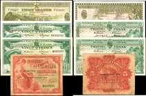 BELGIAN CONGO. Mixed Banks. 5 & 20 Francs, 1940-59. P-13, 26 & 31. Fine to Very Fine.