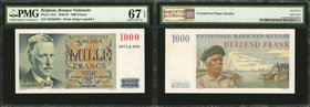 BELGIUM. Banque Nationale de Belgique. 1000 Francs, 1950-58. P-131a. PMG Superb Gem Uncirculated 67 EPQ.