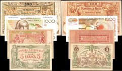 BELGIUM. Banque Nationale de Belgique. 5 to 1000 Francs, Mixed Dates. P-Various. Very Fine to About Uncirculated.
