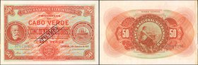 CAPE VERDE. Banco Nacional Ultramarino. 50 Escudos, 1921. P-37s. Specimen. Uncirculated. Previously Mounted.