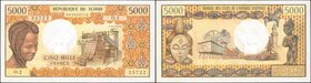 CHAD. Banque des Etats de l'Afrique Centrale. 5000 Francs, ND (1976-78). P-5b. Uncirculated.