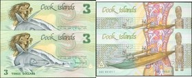 COOK ISLANDS. Ministry of Finance. Lot of (2) 3 Dollars, ND (1987). P-3. Choice Uncirculated.