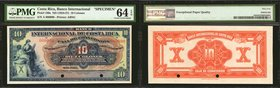 COSTA RICA. Banco Internacional. 10 Colones, ND (1924-27). P-186s. Specimen. PMG Choice Uncirculated 64 EPQ.