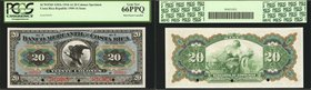 COSTA RICA. Banco Mercantil de Costa Rica. 20 Colones, 1910-16. Hole Punch Cancelled. P-S203s. Specimen. PCGS Currency Gem New 66 PPQ.