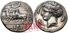 "Sicily. Syracuse. Time of Dionysios I circa 405-367 BC. SOLD AS SEEN; MODERN REPLICA / NO RETURN !. Electrotype ""Decadrachm"""