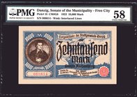 Danzig 10000 Mark 1923 PMG 58