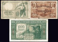 Germany - Empire Lot of 3 Banknotes