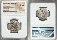 MACEDONIAN KINGDOM. Alexander III the Great (336-323 BC). AR tetradrachm (26mm, 5h). NGC Choice XF. Early posthumous issue of Tyre, dated Regnal Year ...