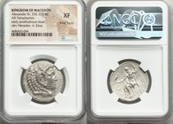 MACEDONIAN KINGDOM. Alexander III the Great (336-323 BC). AR tetradrachm (27mm, 11h). NGC XF, Fine Style. Late lifetime to early posthumous issue of '...