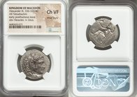MACEDONIAN KINGDOM. Alexander III the Great (336-323 BC). AR tetradrachm (26mm, 8h). NGC Choice VF, Fine Style. Early posthumous issue of 'Babylon', c...