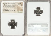 LOCRIS. Locris Opuntia. Ca. 380-300 BC. AR triobol or hemidrachm (14mm, 2.70 gm, 7h). NGC Choice VF 5/5 - 3/5. Head of Persephone right, crowned with ...