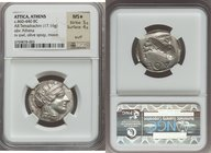ATTICA. Athens. Ca. 460-440 BC. AR tetradrachm (25mm, 17.16 gm, 9h). NGC MS S 5/5 - 4/5, scuff. Early transitional issue. Head of Athena right, wearin...