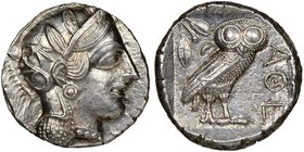 ATTICA. Athens. Ca. 440-404 BC. AR tetradrachm (24mm, 17.32 gm, 9h). NGC MS 5/5 - 4/5. Mid-mass coinage issue. Head of Athena right, wearing crested A...