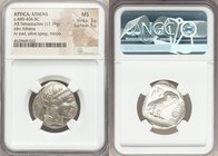 ATTICA. Athens. Ca. 440-404 BC. AR tetradrachm (24mm, 17.19 gm, 1h). NGC MS 3/5 - 5/5. Mid-mass coinage issue. Head of Athena right, wearing crested A...