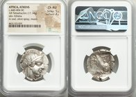 ATTICA. Athens. Ca. 440-404 BC. AR tetradrachm (27mm, 17.14 gm, 3h). NGC Choice AU 5/5 - 4/5. Mid-mass coinage issue. Head of Athena right, wearing cr...