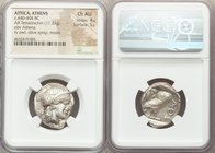ATTICA. Athens. Ca. 440-404 BC. AR tetradrachm (25mm, 17.21 gm, 1h). NGC Choice AU 4/5 - 5/5. Mid-mass coinage issue. Head of Athena right, wearing cr...