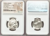ATTICA. Athens. Ca. 440-404 BC. AR tetradrachm (24mm, 17.18 gm, 2h). NGC Choice AU 5/5 - 3/5. Mid-mass coinage issue. Head of Athena right, wearing cr...