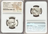 ATTICA. Athens. Ca. 440-404 BC. AR tetradrachm (26mm, 17.24 gm, 3h). NGC AU 5/5 - 5/5. Mid-mass coinage issue. Head of Athena right, wearing crested A...